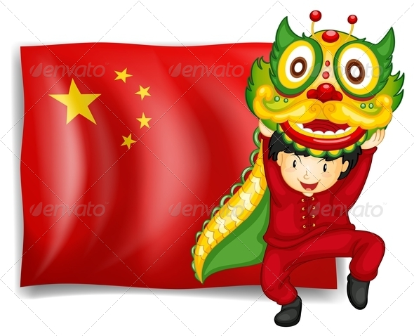 Dragon Dance with Chinese Flag