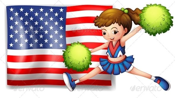 Cheerleader and USA Flag