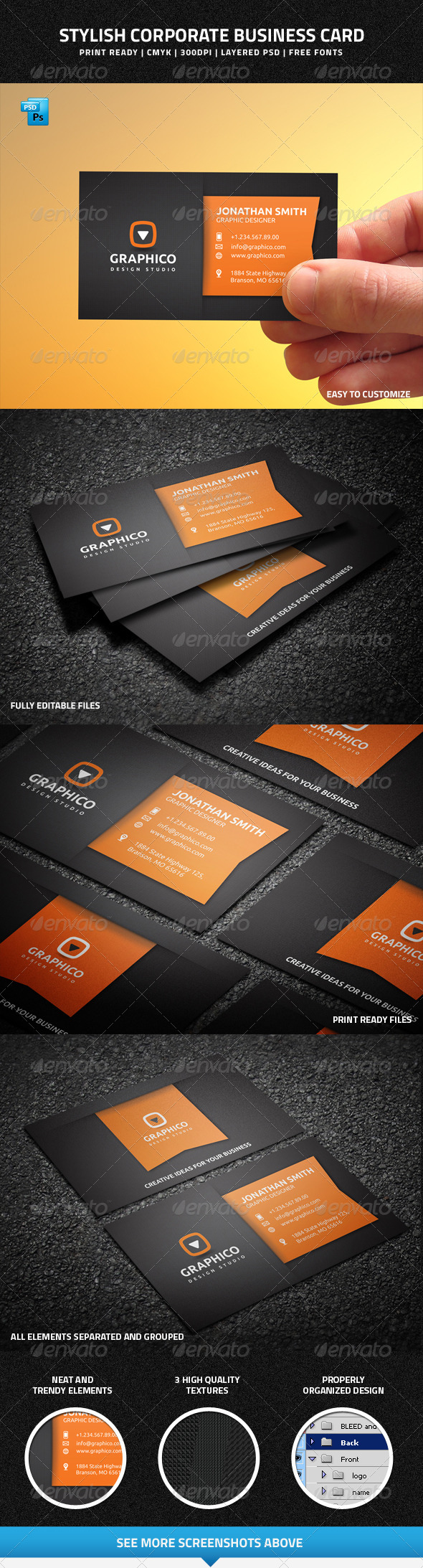 GraphicRiver Stylish Corporate Business Card 7894686