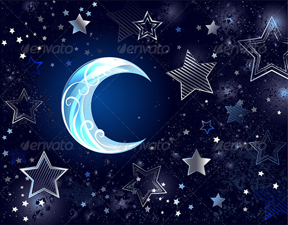 GraphicRiver Background with a Blue Moon 7838663