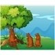 Playful Animals Playing Near a Tree - GraphicRiver Item for Sale
