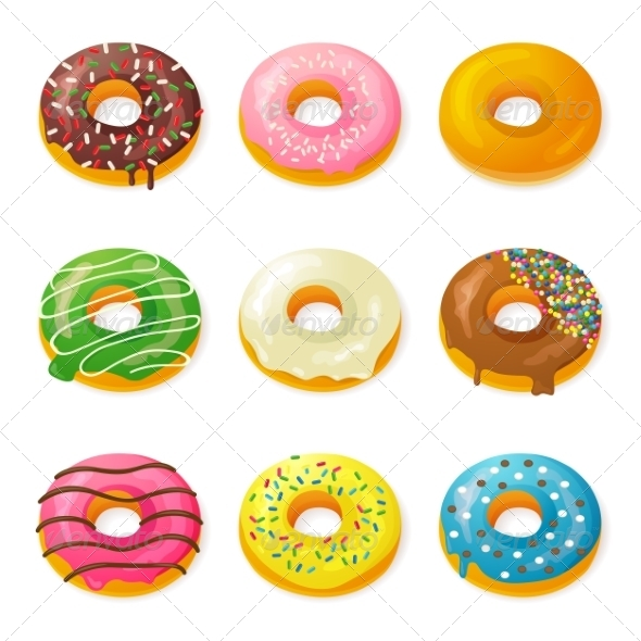 GraphicRiver Set of Tasty Donuts 7904363