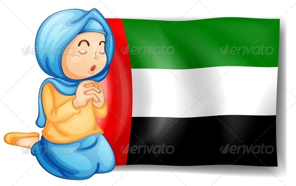 GraphicRiver Girl Praying with the UAE Flag 7904841