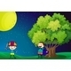 Kids Playing in Field at Night  - GraphicRiver Item for Sale