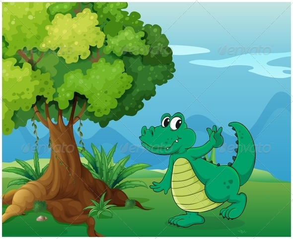 GraphicRiver A Crocodile Near the Tree 7905017