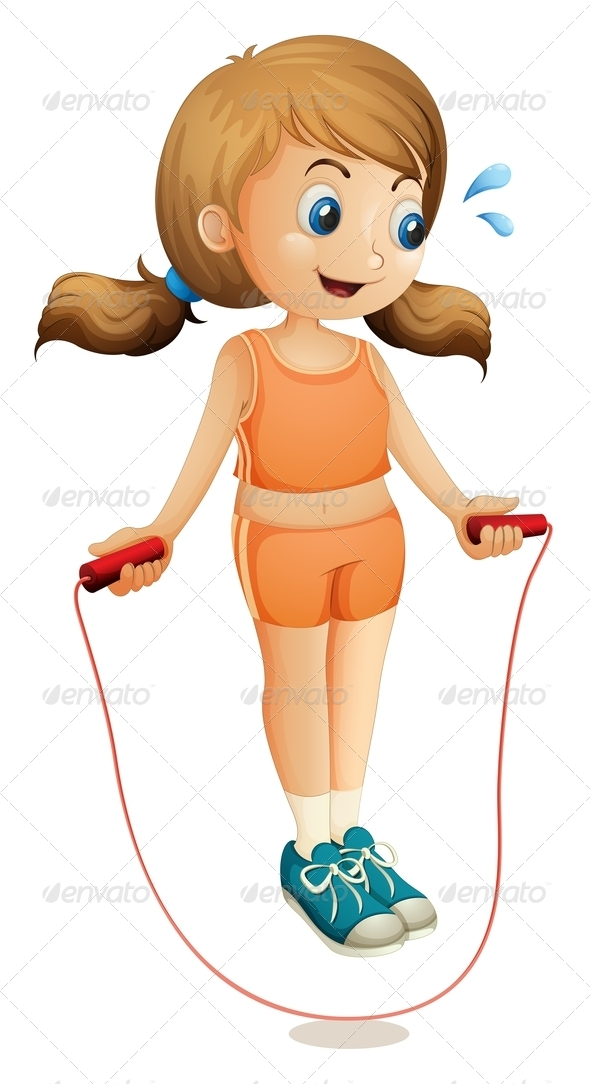 GraphicRiver A Young Lady Exercising with a Rope 7905020