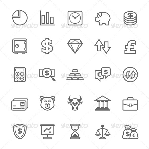 GraphicRiver 25 Outline Stroke Finance&Stock Icons 7905022