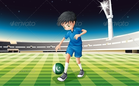 A Soccer Player Using the Ball with the Pakistan Flag