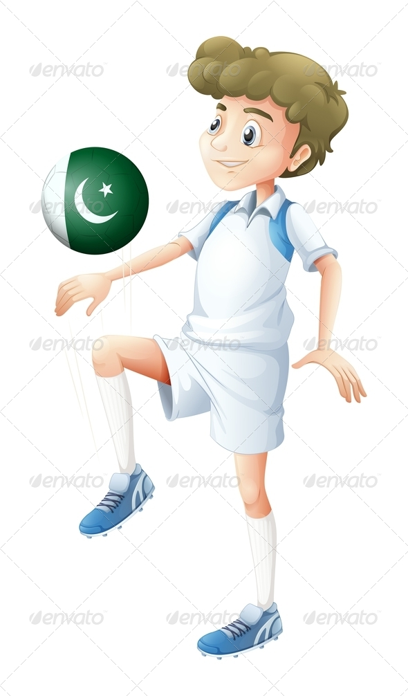 A Player Using the Ball with the Pakistan Flag