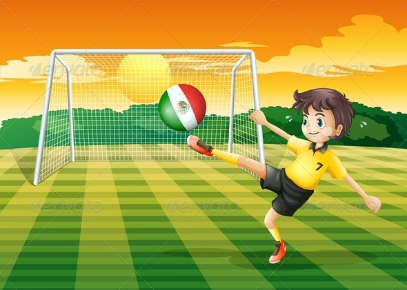 GraphicRiver A Girl Kicking the Ball with the Mexico Flag 7905078