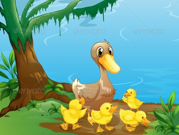 GraphicRiver A Duck and her Ducklings at the Riverbank 7905085