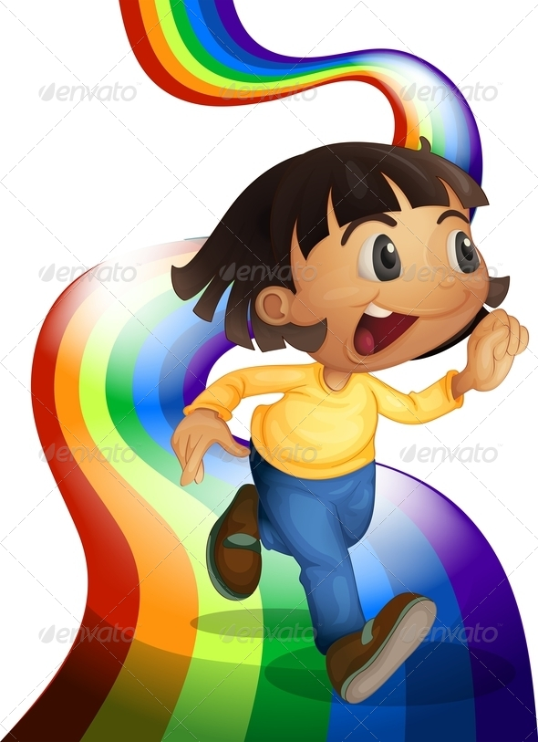 GraphicRiver A Rainbow with a Child Playing 7905108