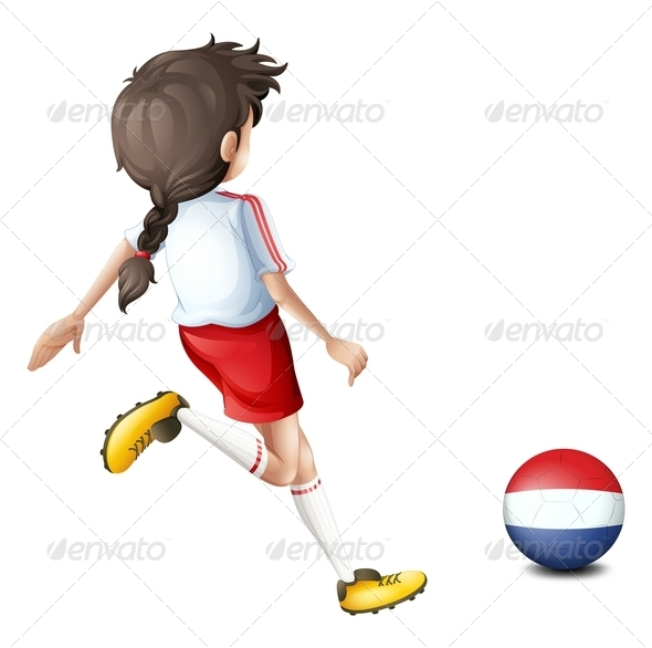 A Girl Using the Ball with the Flag of Netherlands