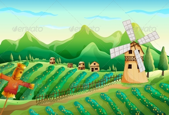 GraphicRiver A Farm with Wooden Houses and a Scarecrow 7905209