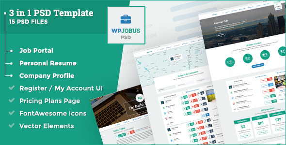 WPJobus is a 3 in 1 professional job portal, resume & company profile PSD Template You can showcase your Resume, use it for a Job Portal with a great frontpage,