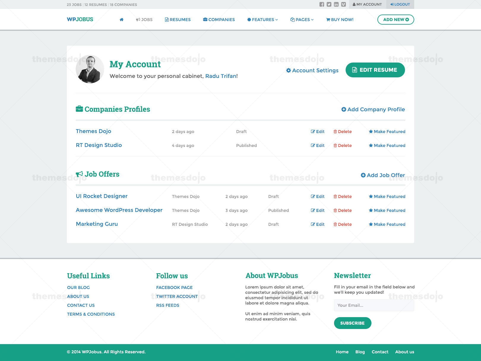 wpjobus portal resume and company profile by themes