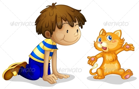 GraphicRiver A Young Boy and his Adorable Kitten 7905282