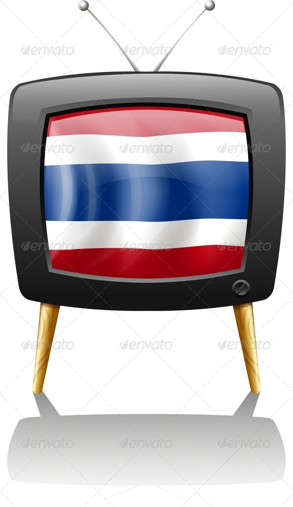 The Flag of Thailand Inside the Television
