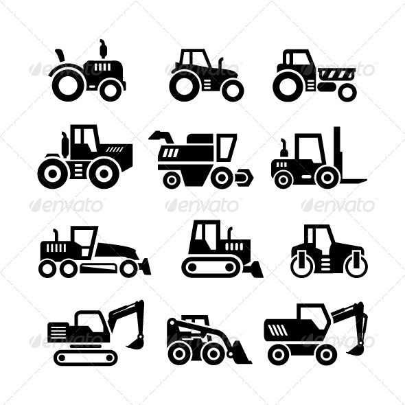 GraphicRiver Set Icons of Tractors Farm and Buildings Machines 7905434
