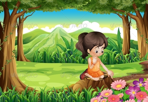 GraphicRiver A Cute Little Girl Watching the Flowers 7905445