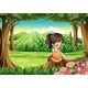 A Cute Little Girl Watching the Flowers - GraphicRiver Item for Sale