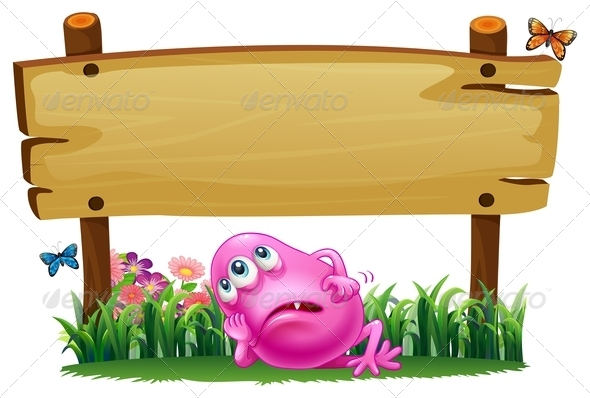 GraphicRiver Tired Monster Under the Empty Signboard 7905518