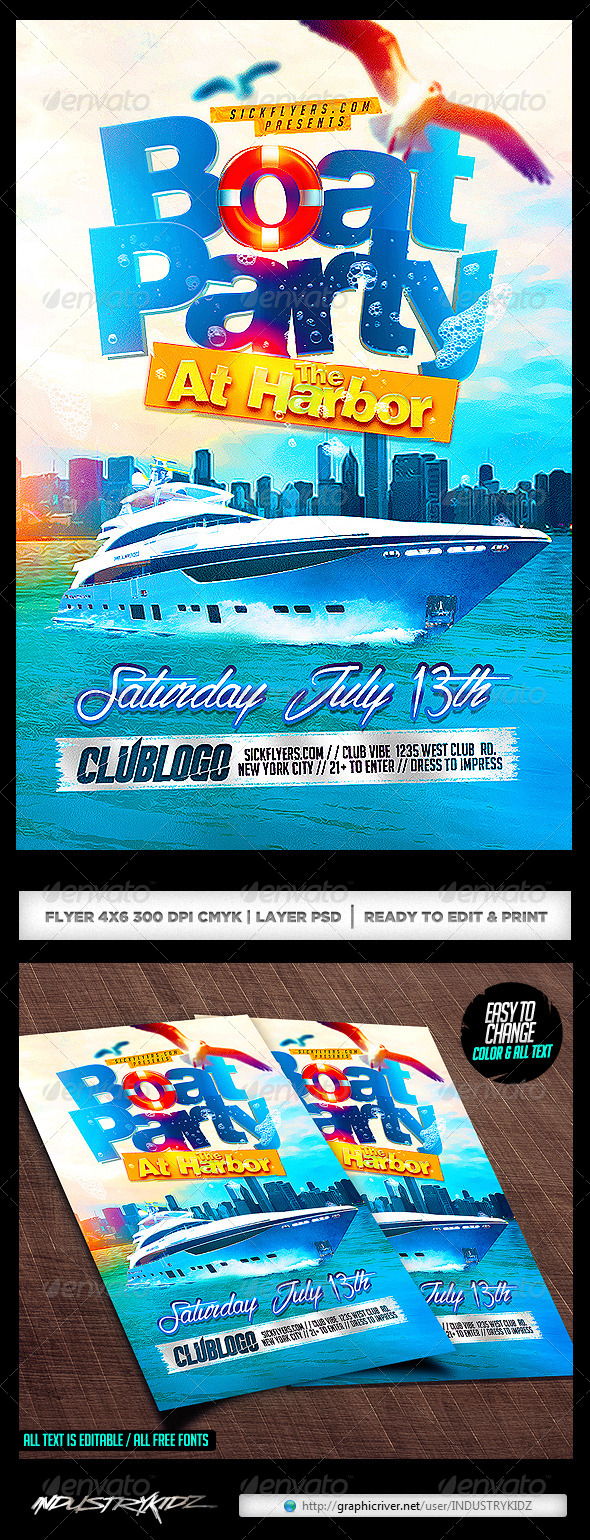 Boat Party Flyer Template PSD - Clubs & Parties Events