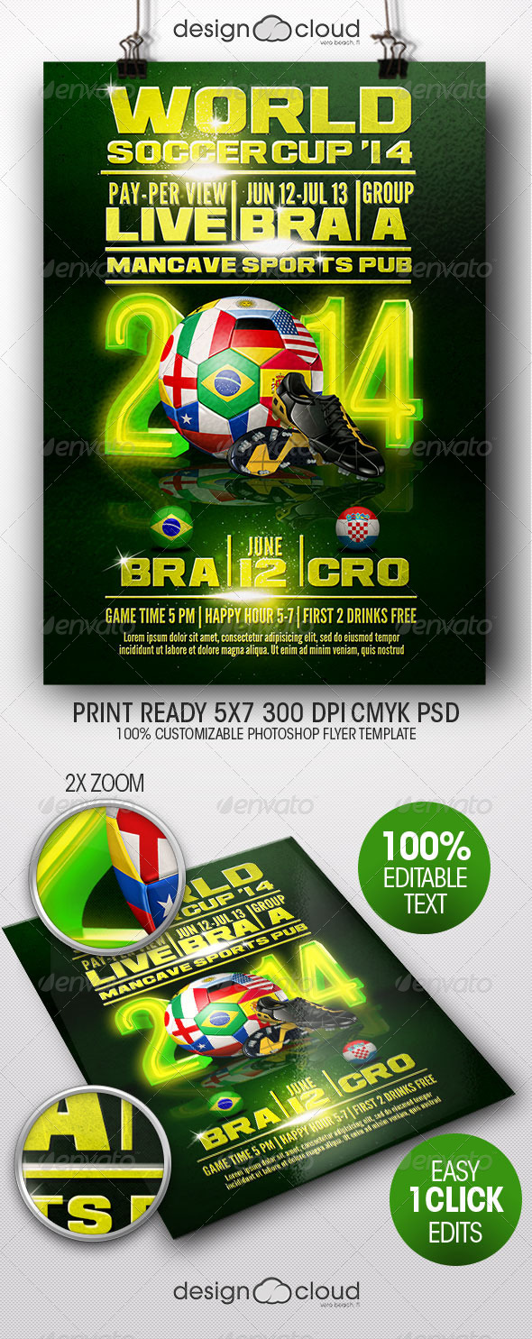 GraphicRiver World Soccer Cup Flyer Template 7902060