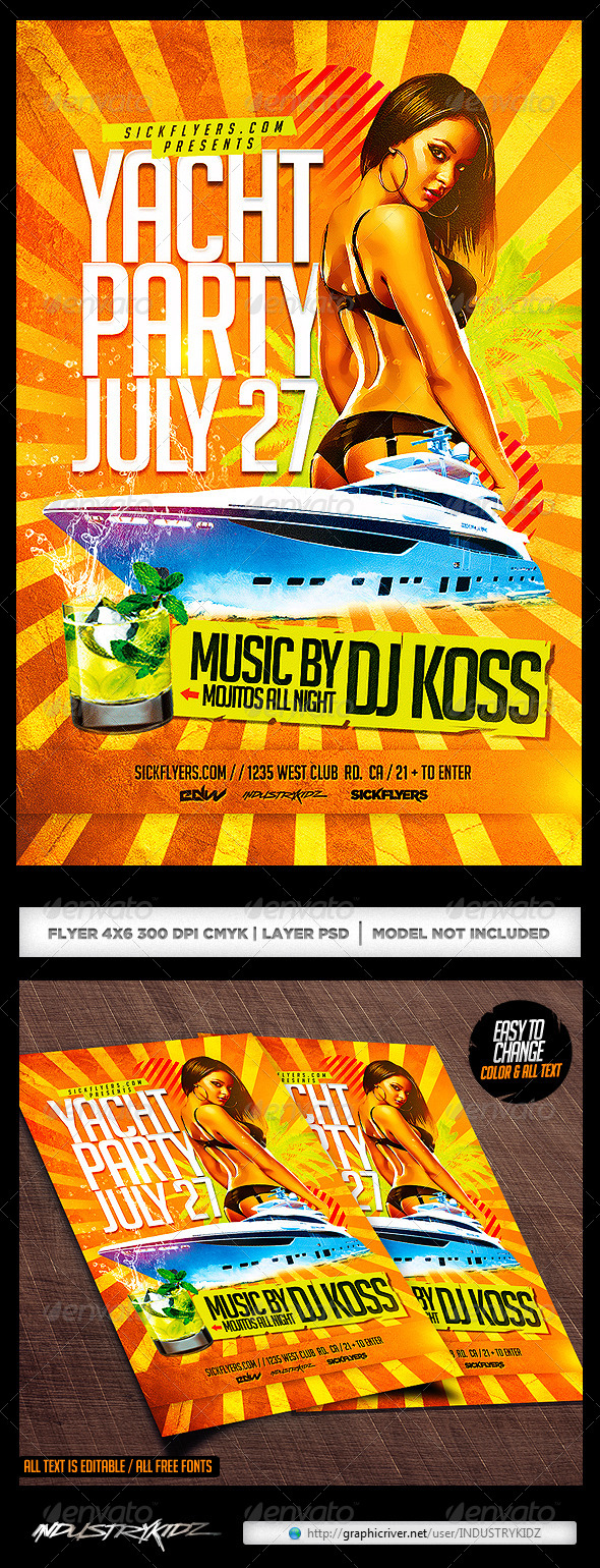 Yacht Party Flyer Template PSD - Clubs & Parties Events