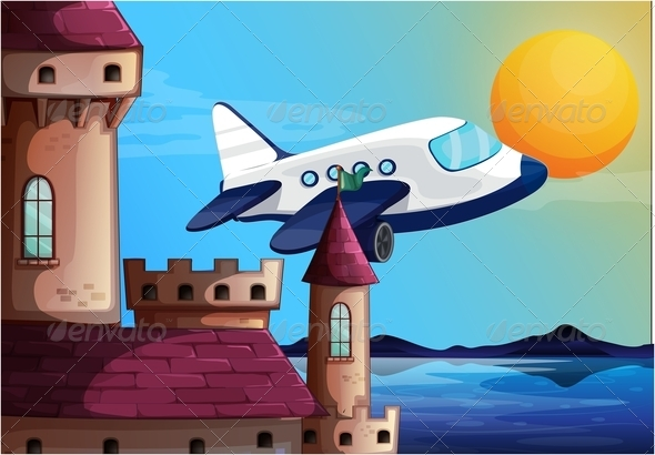 GraphicRiver Airplane Near a Castle 7905542