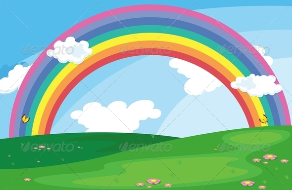 GraphicRiver Green Landscape with a rRainbow in the Sky 7905641