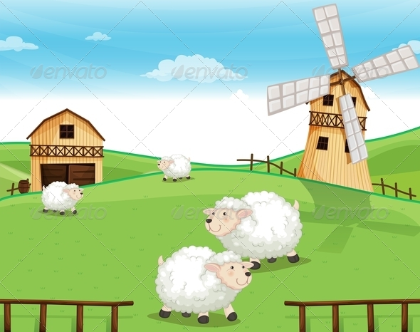 GraphicRiver Farm on the Hills with Sheeps 7905644
