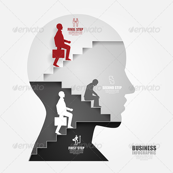 GraphicRiver Businessman Up the Head Ladder Paper Cut 7905707