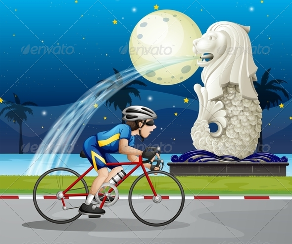 GraphicRiver Biker Passing the Street with a Statue of Merlion 7905711