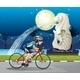 Biker Passing the Street with a Statue of Merlion - GraphicRiver Item for Sale