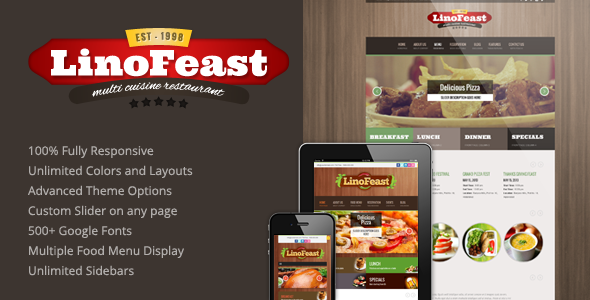 LinoFeast: Restaurant Responsive Wordpress Theme - Restaurants & Cafes Entertainment
