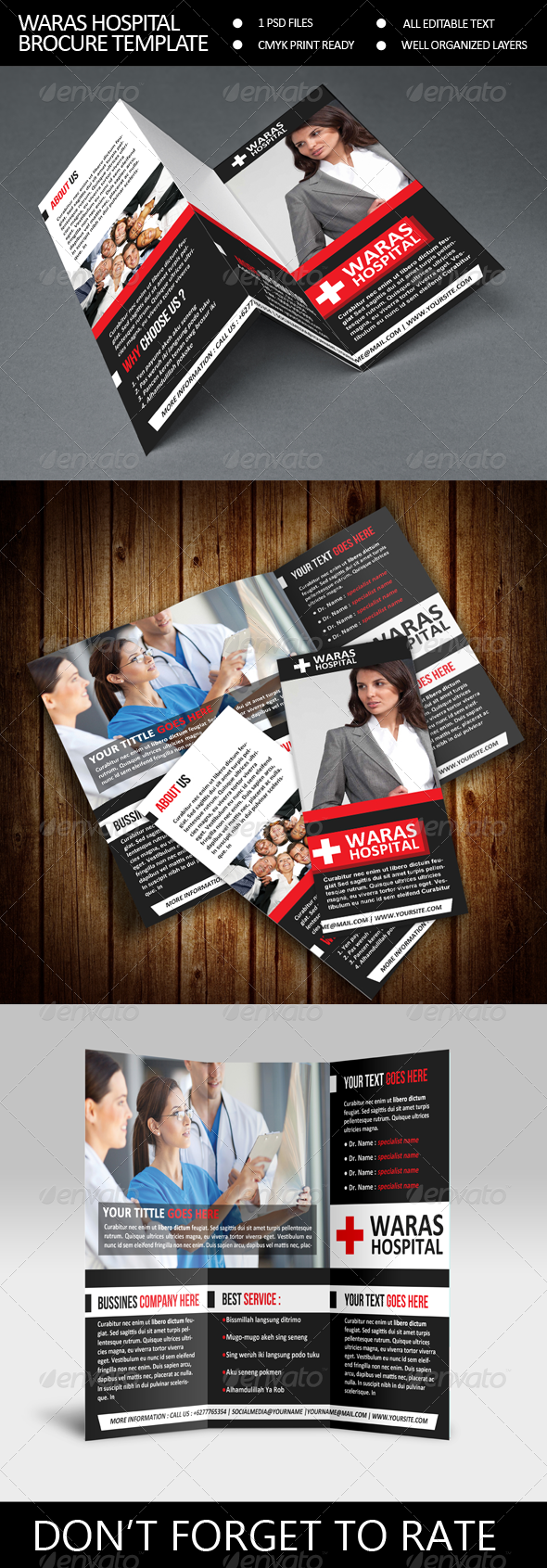 Waras Hospital Trifold Brocure Template