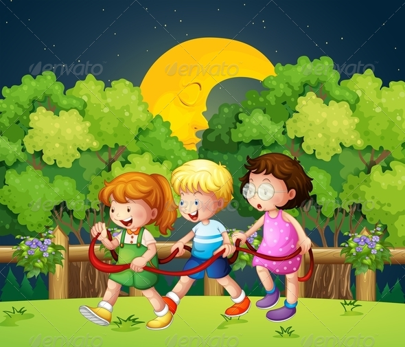 GraphicRiver Three Kids Outdoor Walking in the Night 7905736