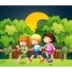 Three Kids Outdoor Walking in the Night - GraphicRiver Item for Sale