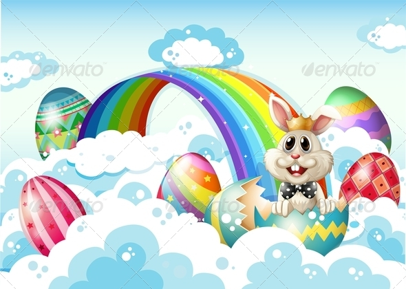 GraphicRiver King Bunny in the Sky with Easter Eggs 7905740