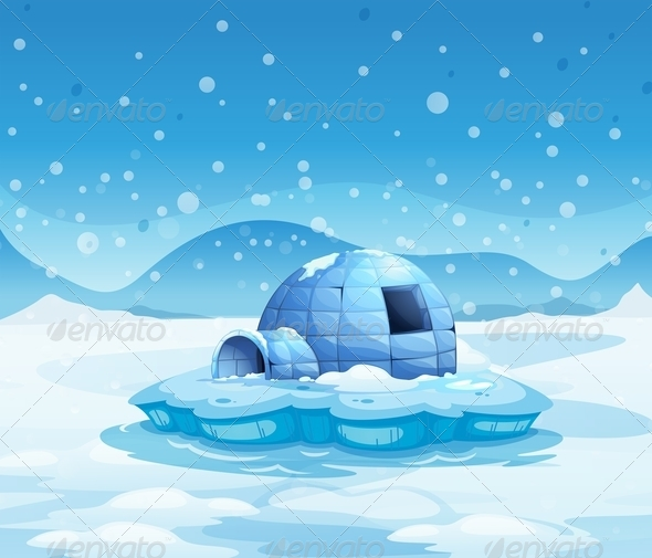GraphicRiver An Iceberg with an Igloo 7905762