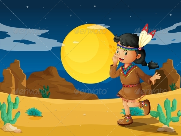 GraphicRiver Desert with a Young Indian 7905850
