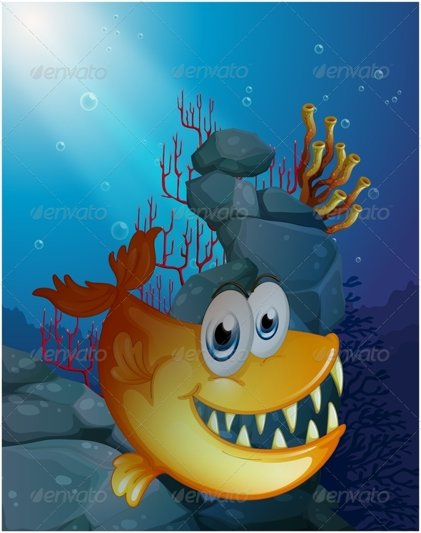 GraphicRiver Scary Fish Under the Sea Near the Rocks 7906036
