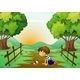 Young Boy and His Pet in the Middle of the Street - GraphicRiver Item for Sale