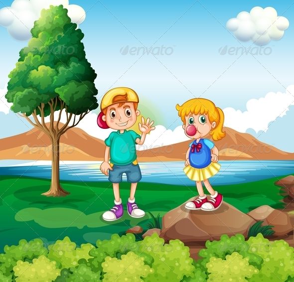 GraphicRiver Two Kids at Riverside 7906292