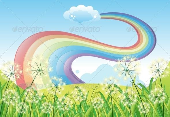 Rainbow in the Clear Blue Sky