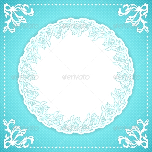 GraphicRiver Turquoise Floral Frame 7906313