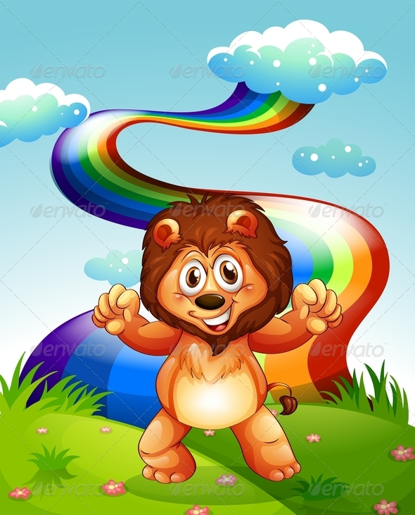 GraphicRiver Happy Lion on a Hilltop with a Rainbow 7906374