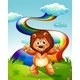 Happy Lion on a Hilltop with a Rainbow - GraphicRiver Item for Sale