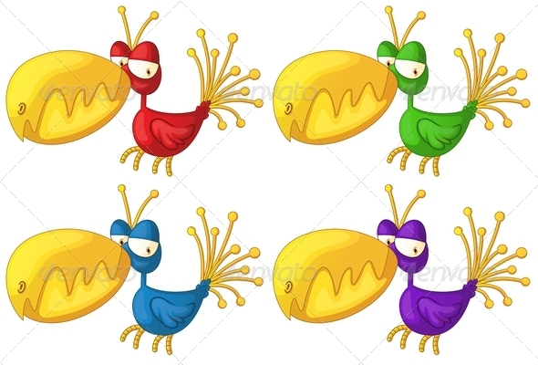 GraphicRiver Four Colorful Birds 7906610
